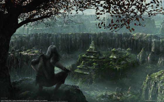 фэнтези, город, kerem, beyit, ночь, fantasy, горы, воин,