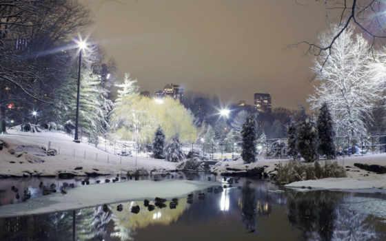 город, winter, снег, park, rate, trees, lantern