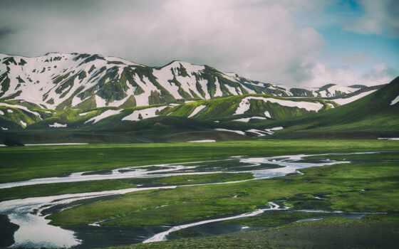 гора, трава, iceland, снег, река, камень, фотообои, previe, зелёный, landmannalagar