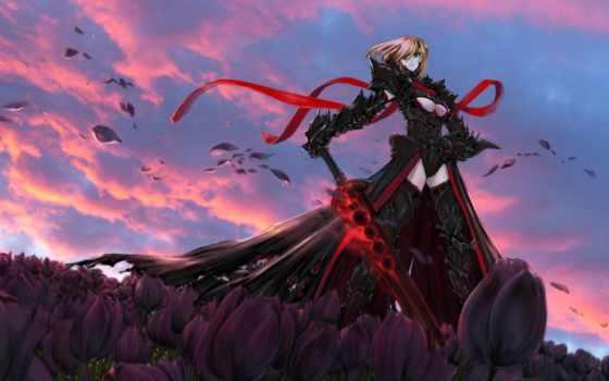 меч, черный, воин, цвет, лицом, чет, тюльпаны, девушка, закат, облака, аниме, картинка, saber,
