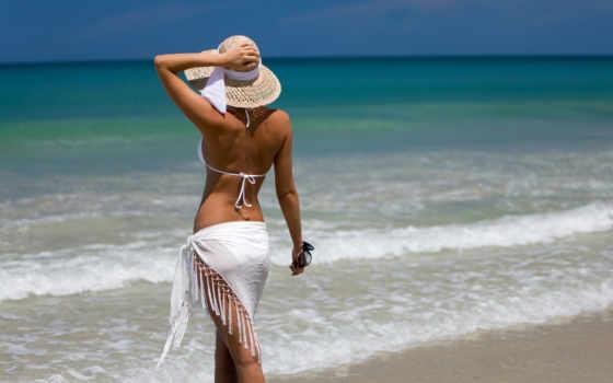 девушка, море, шляпа