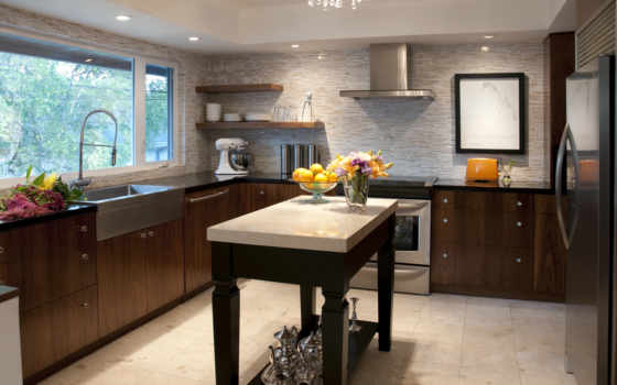 kitchen, открыть, shelving
