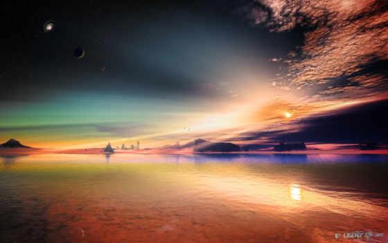 небо, planeta, art, чужая, скалы, звезды,