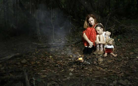 ночь, лес, огонь