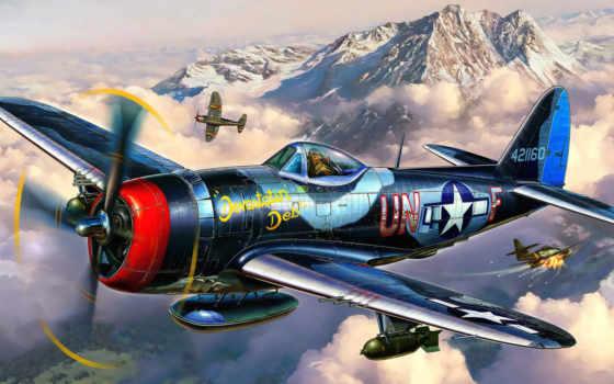 thunderbolt, истребитель, республика, самолёт, бомбардировщик, revell, art,