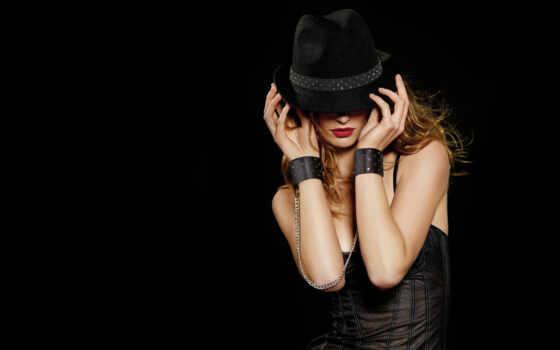 девушка, шляпа, black, картинка, гламур, devushki, шляпе, картинку, телефон,