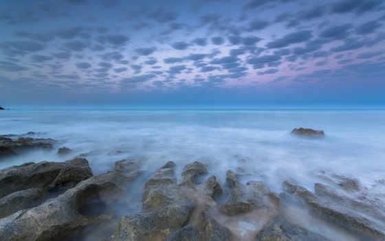 море, камни, берег, природы, elevation, застывшие, мгновения, утро, camino, this,