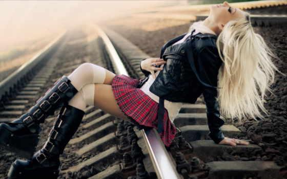 девушка, школьница, railroad, school, railroads,