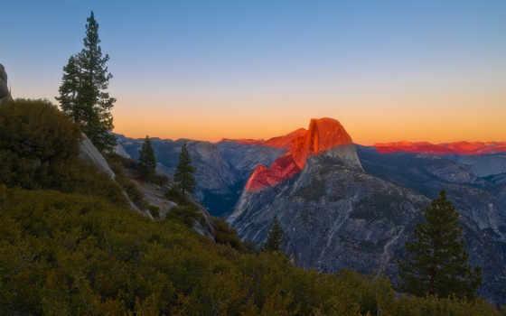 yosemite, park, national, dome, half, california,