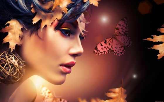осень, девушка, листва, люди, очарование,