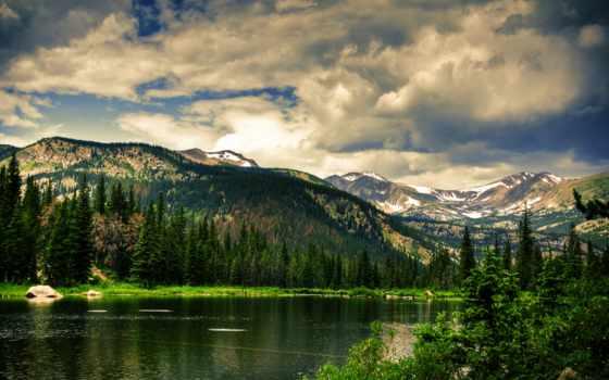 горы, oblaka, небо, холмы, озеро, trees, широкоформатные, природа,