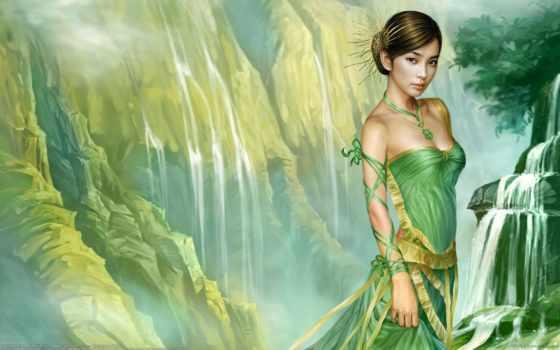 fantasy, девушка, зеленом, платье, tang, yuehui, стоит, fone, водопада,
