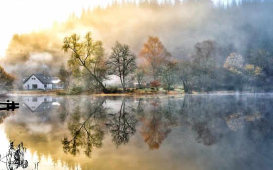 природа, landscape, озеро, туман, коллекция, trees