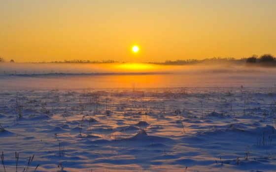рассвет, mist, winter