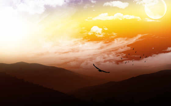 горы, птица, zakat, птицы, небо, dva, среди,
