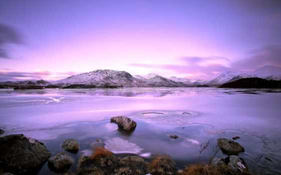 landscape, снег, winter, природа, небо, озеро, purple,