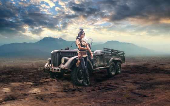девушка, fone, стиле, одетая, машины, близко, стимпанк, эль, ticket, авто, пустыни,