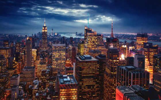 нью, york, сша, город, ночь, вечер, огни, new, новогодняя, разных, мира,