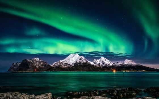 aurora, iphone, borealis, огни, европа, небо, фон, northern, зелёный