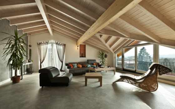 интерьер, design, attic, мебель, stylish, чердака, дек, деревянная, крыша,
