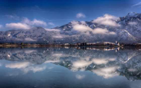 бавария, германия, озеро, forggensee, альпы, mountains, отражение,