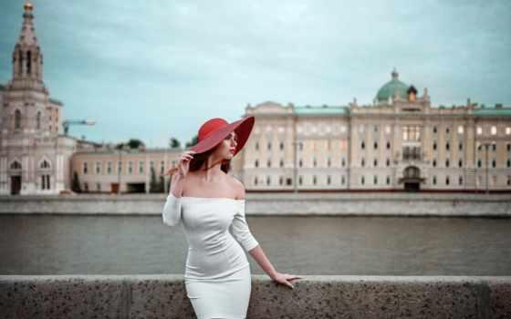 девушка, шляпе, набережной, город, russian, платье, hope, москвы, шляпа, белом, джордж,