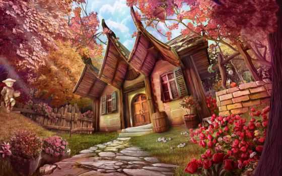 summer, art, цветы, lodge, фантастика,