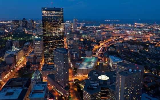 boston, бостон, город, сша, ночь, usa, свет, массачусетс,