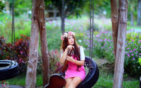 гитара, девушка, asian