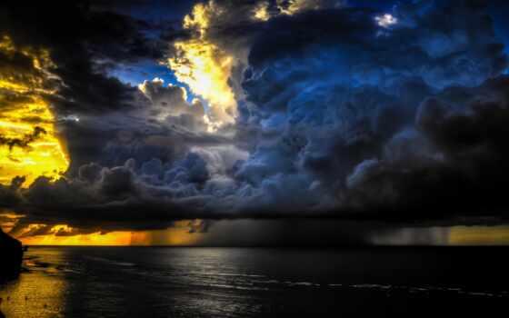 небо, дождь, море
