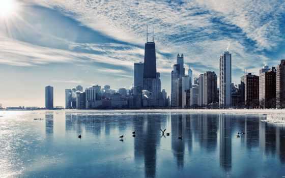,chicago,высотки,залив,