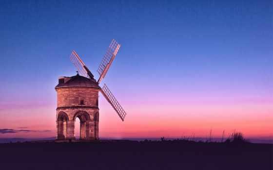 закат, небо, вечер, розовый, mill, синее, оранжевый, шпалери, поле, sun, компьютер,