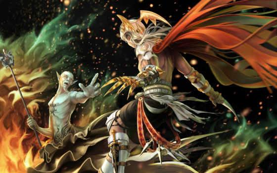 fantasy, доспех, магия, warriors, weapons, битва, огонь, стена, маг, девушка, sizes,
