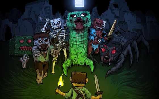 minecraft, майнкрафт, зомби, creeper