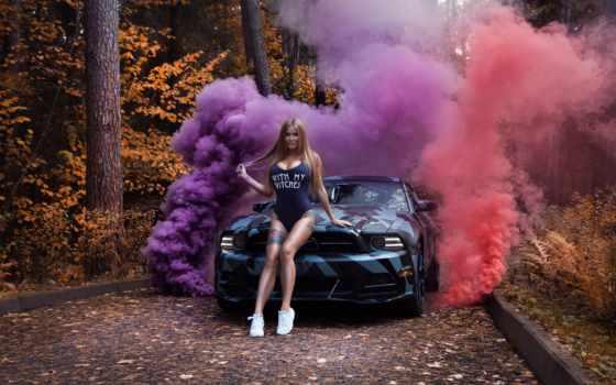 девушка, mustang, car, ford, shelbit, тюнингованный, shelby, фон, purple
