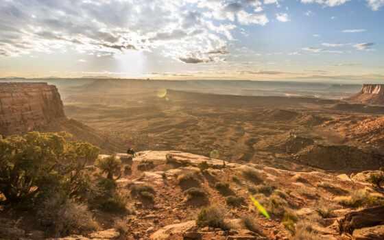 поле, гора, телефон, ноутбук, зелёный, rock, каньон, moab