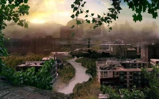 пост, город, апокалипсис, apocalyptic, deviantart, trees, вертолет