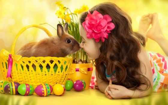 easter, шарики, праздники, дети, кролики, девочки, корзина, бант,