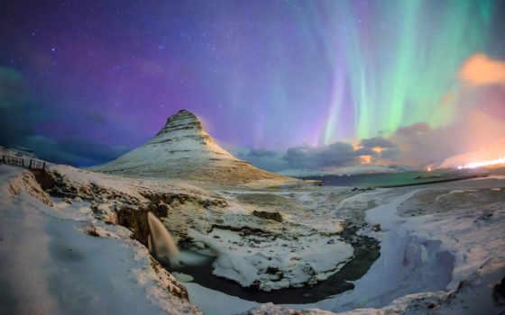 горы, widescreen, landscape, aurora, снег, resolutions, природа,