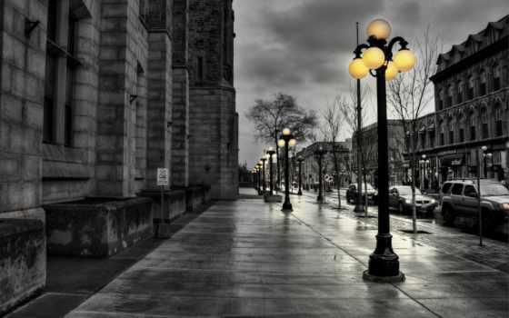 чёрно, города, улица, белые, фонари, белое,