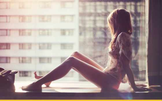 девушка, окна, плачет, окно, подоконник, которые, шторы, подоконнике, сидит,