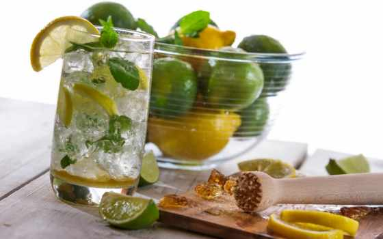 коктейль, мохито, лимон, лайм, сахар, напиток,