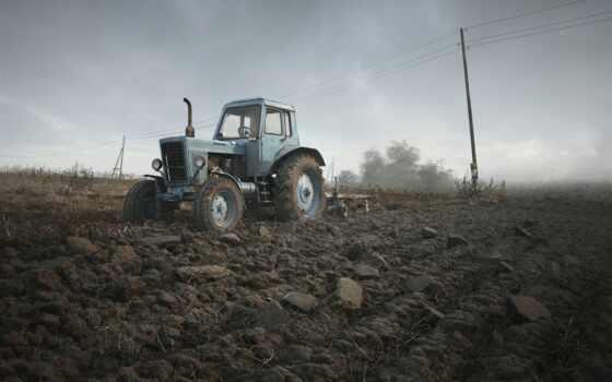 трактор, поле, небо