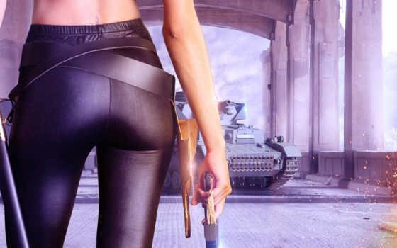 revolver, девушка, оружие