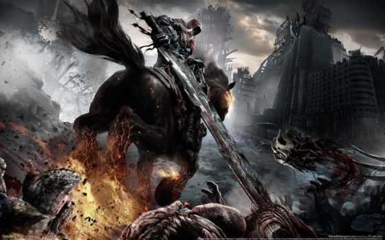 двуручным, воин, darksiders, лошади, art, мечем, игре, меч,