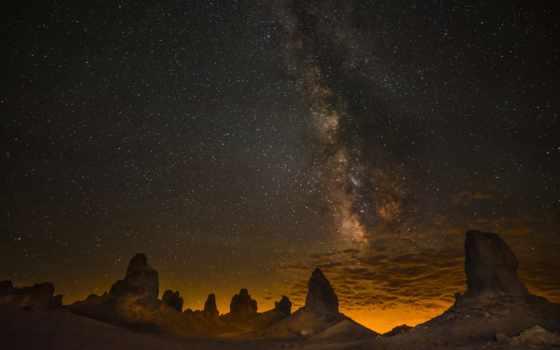 путь, млечный, пустыня, ночь, небо, звезды, скалы, трона, california, usa,