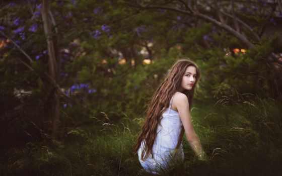 девушка, волосы, взгляд, длинные, природа, teenager, long,