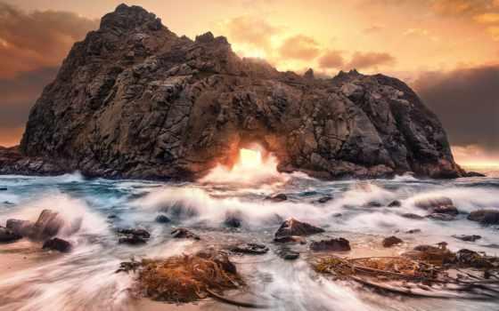 , скалы, волны, закат, море,