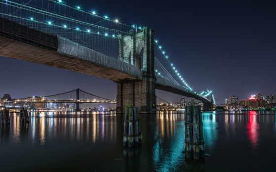 бруклин, мост, город, ночь,