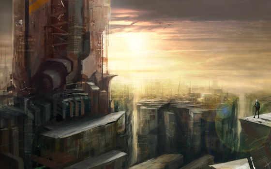 фантастика, будущее, город Фон № 51061 разрешение 4000x2400